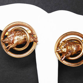 Gold Filled Wild Boar Clip on Earrings - Edwardian Signed 1/20th 12KT G.F - Pig Jumping Through Hoops - Victorian / Art Deco Era 1930s 1940s