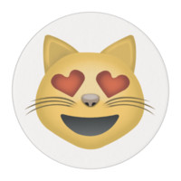 Smiling Cat Face With Heart Shaped Eyes Emoji Edible Frosting Rounds