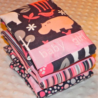 Personalized Burp Cloth Set - Baby Girl Pink and Gray Flannel Zoology