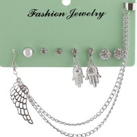 2 Pairs of Silver Iced Out Hamsa & Assorted Style Stud Earrings Set with One Ear Cuff
