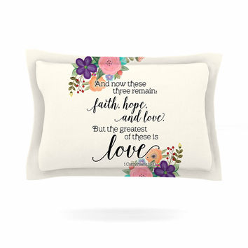 "Noonday Design ""Faith, Hope, And Love"" Beige Multicolor Pillow Sham"