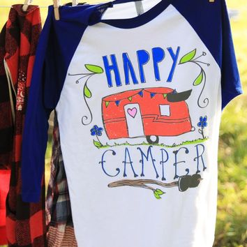 HAPPY CAMPER BLUE RAGLAN - Junk GYpSy co.