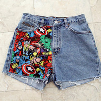 Marvel High Waisted Shorts 28 inches