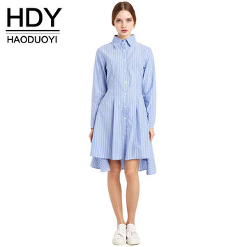 HDY Haoduoyi 2017 New Fashion Women Preppy Style  Tie Waist High Low Casual Single Button Long Sleeve Striped Shirt Dress