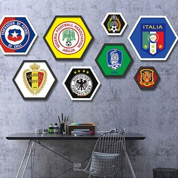 New World Cup Party Favor Product Football Team Emblem Hexagonal Painting for Room/ Soccer Club Bar Decor