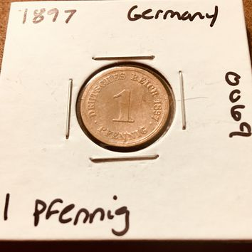 1897 German Empire 1 Pfennig Coin 0069