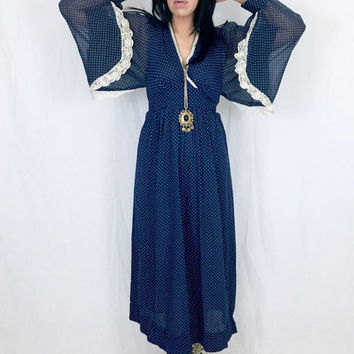 Vintage 70s Navy Blue Polka Dot Balloon Angel Poet Sleeve Bohemian Witchy Maxi Dress M // L