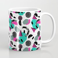 Cha Ching - abstract throwback memphis retro 80s 90s pop art grid shapes Mug by Wacka
