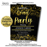 High School Graduation Party invitation - Graduation Announcement - Printable Graduation invite - Graduation Party Invites - Gold and Black