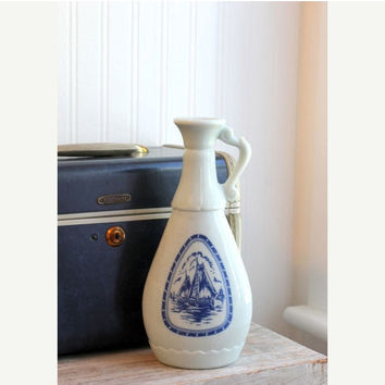 ON SALE Nautical  prohibition Bottle Holland windmill  Delft Blue Sail Boat Vintage glass, fathers day gift,  old world home decor