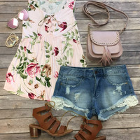 In the Sun Floral Top: Pink