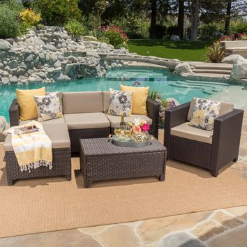 Pueblo Outdoor Wicker L-Shaped Sectional Sofa Set with Club Chair