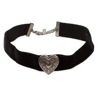 Bavarian Velvet Choker Wide Elastic with Heart (black) - Traditional German Dirndl, Lederhose Jewelry