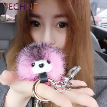 YECHNE Mink Hair Ornaments Small Hedgehog Pendant Fur Key Buckle Handbag Decoration Key Chain