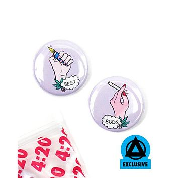 Best Buds Pinback Button Set (w/ 420 Bag)