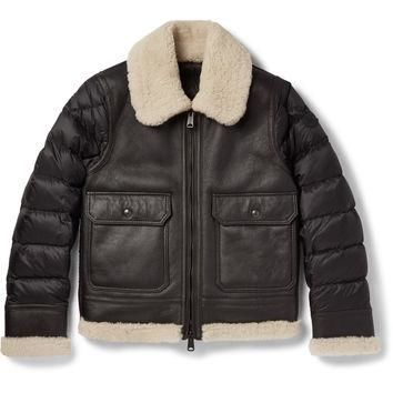 Moncler - Laredo Shearling-Trimmed Leather and Quilted Shell Down Jacket