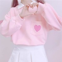Cute love embroidered sweater YV482