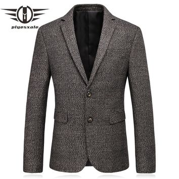 Slim Fit Men Wool Blazer Autumn Elbow Patch Blazer Men Vintage Business Casual Suit Jacket