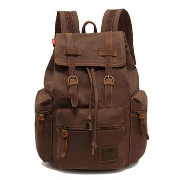 Vintage Unisex Travel Satchel Shoulder Bag Backpack Student Retro Rucksack