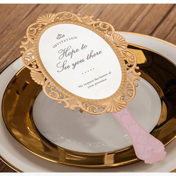 Wishmade 30pcs/lot Pink Magic Mirror Laser Cut Wedding invitations Girl Birthday Party Decorations with Envelopes CW5096