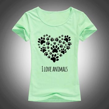 I Love Animals Heart-shaped cat footprints t shirt women 2017 summer kawaii lovely shirt fashion tops F94