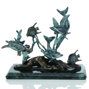 SPI Small Dolphin Seascape Brass and Marble Sculpture