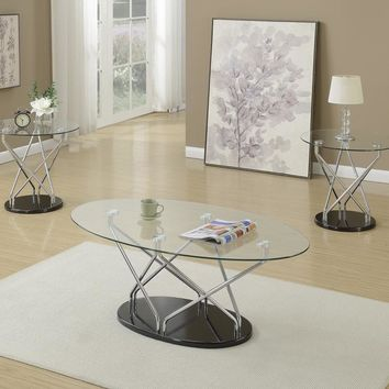 3 Pieces Coffee End Table Set With Glass Top And Black Base By Poundex