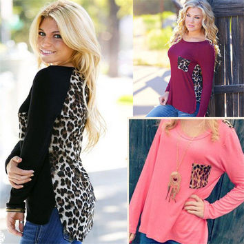 Large Plus Size Leopard Chiffon Blouse Tops Women Spring Summer Clothes J6123