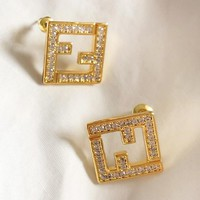 Fendi New fashion diamond letter long earring women Golden