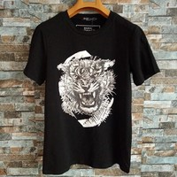 """Balmain"" Unisex Fashion Casual Tiger Head Print Couple Short Sleeve Cotton T-shirt Top Tee"