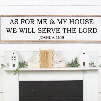 As for me and my house we will serve the Lord Faith Verse Vinyl Wall Decor Decal Sticker Stencil Art