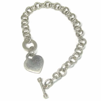 Vintage Sterling Toggle Heart Bracelet 7.5 Inches