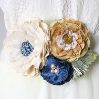 Floral Wedding Dress Belt - Ivory, Blue and Golden Yellow Fabric Flowers