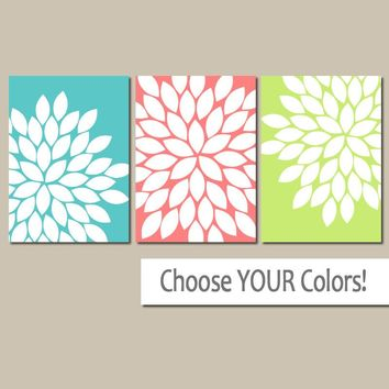 Flower Wall Art, Colorful BATHROOM Art, CANVAS or Prints, Coral Aqua Lime, Floral Bedroom Pictures, Floral Artwork, Flowers Set of 3
