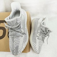 Adidas Yeezy 350V2 BOOST Fashion New Fish Silk White Ash Gym Women Men Shoes