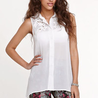 Kirra Embroidered Button Down Shirt at PacSun.com