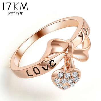 17KM Romantic Gift Retro Love Heart Bow Rings Gold Color wedding Austrian Crystal Element Rings Word Ring For Women