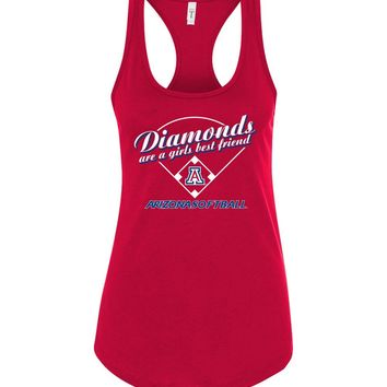 Official NCAA Venley University of Arizona Wildcats U of A Wilber Wildcat BEAR DOWN! Softball Diamonds are a Girls Best Friend Next Level Racerback Tank - uofa2489