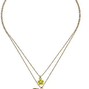 "Betsey Johnson ""Spring Ahead"" Hummingbird Double Pendant Necklace,16.5"" + 3"" Extender"