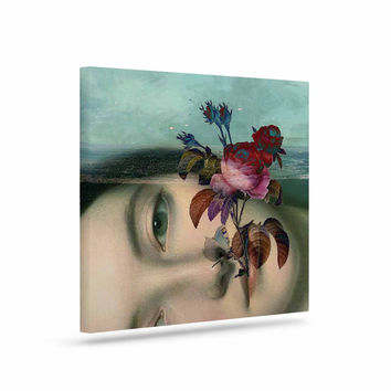"Suzanne Carter ""Emerge"" Blue Floral Canvas Art"