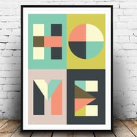 Home print, Typography poster, Letters print, Type poster, Minimalist print, Colorful decor, Homeart, Home quote, Home poster, Type psoter