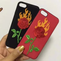 Fashion Embroider Flower iPhone Phone Cover Case For iphone 6 6s 6plus 6s-plus