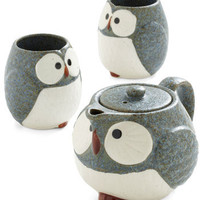 Owl Warm and Cozy Tea Set in Stone | Mod Retro Vintage Kitchen | ModCloth.com