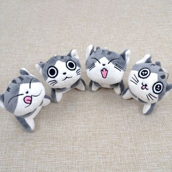 Kawaii Grey Sitting 9CM CAT Plush Stuffed Toys , Bouquet Gift Soft Plush Cat Doll , CAT Key Chain Plush TOY Flower Cat Doll Gift