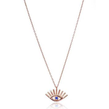 Gold Navy Blue Evil Eye with Eyelash Necklace Over 925 Sterling Silver