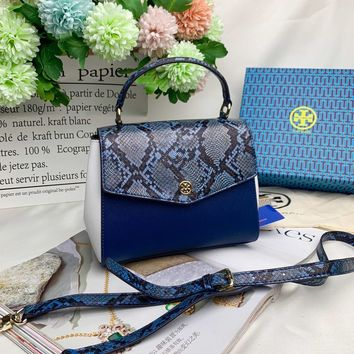 Kuyou Gb99822 Tory Burch Flap Cover Bag In Black Leather With Light Blue Snakeskin 57338 22cm*15cm*9cm