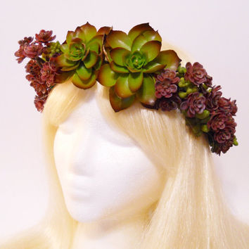 Succulent Flower Crown Succulent Wedding Green Forest Queen Woodland Boho Wedding Purple Flower Beach Nymph Fairy Goddess Headdress Costume