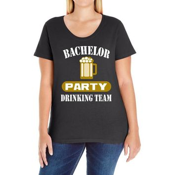 bachelor party drinking team wedding groomsmen bridal funny Ladies Curvy T-Shirt