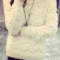 Off White Long Sleeve Fur Designed Sweater