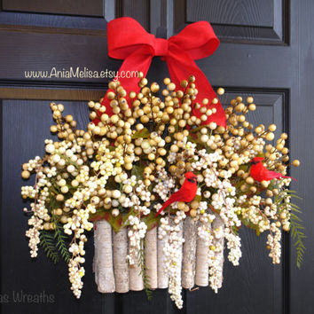 Christmas wreath for front door wreaths winter berry wreaths, year round wreath, pip berry wreaths, outdoor home decor